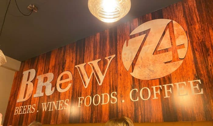 Brew 74 sign on wall.