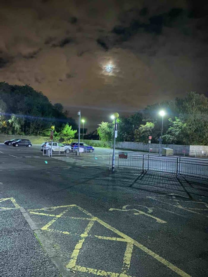nightime view of work car park